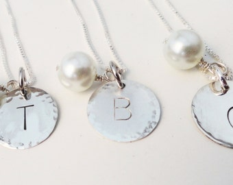 Sterling Silver Initial Necklace (1) with Pearl - N0075
