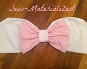White & Light Pink Heart Bow Bandeau