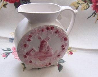 Pitcher Vintage Shabby Chic, Romantic Cottage Vase,Pink & White, Sailboat Pitcher,Windmill Vase