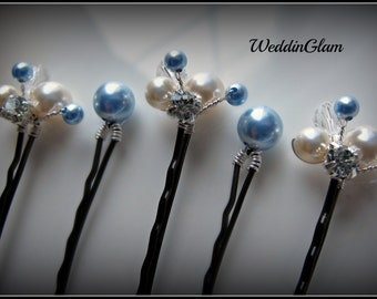 Something Blue Hair Pin, Wedding Hair Accessories, Silver wired vines, Swarovski Ivory White Blue pearls. Bridesmaid hair do, Set of 5 pins