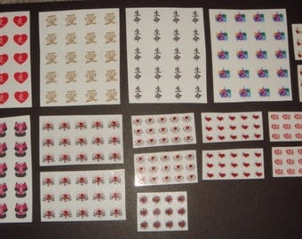 HUGE LOT of (277) Love Hearts Valentine's Day Decals - Nail Art Tattoo - Includes BONUS