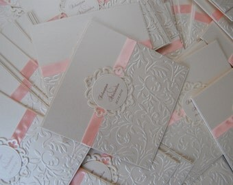 Embossed Invitations with ribbon