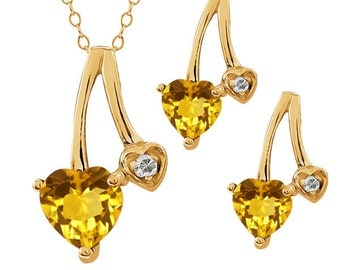 2 Ct Yellow Citrine Heart Diamond Stud Earrings and Pendant 14Kt Yellow Gold Plated