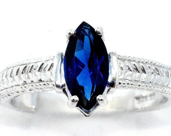 1 Carat Blue Sapphire Marquise Ring .925 Sterling Silver Rhodium Finish