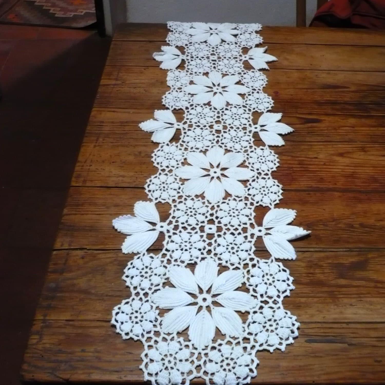 Crochet Home Decor Free Patterns Crochet Table Runner Vintage Portuguese Crochet Table By
