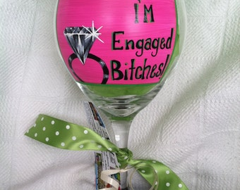Engagement glass- hand painted
