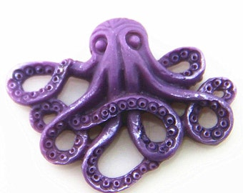 6 pcs of resin Octopus cabochon 20x25mm-RC0104-HAND painted pearilzed -purple