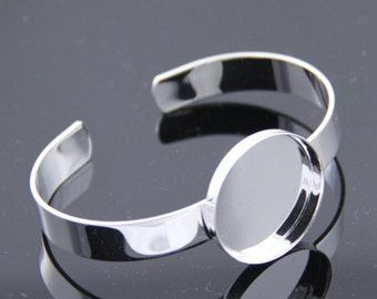 2 pcs of brass cuff bracelet with 25mm mounting setting --5525-silver