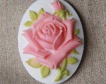 6 pcs of pink rose cameo 30x40mm -0400-pink on whie
