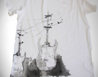 Hand Painted Custom Design T-Shirt/ Music Guitars/ High Voltage