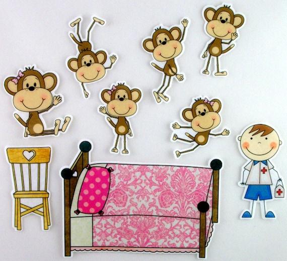 f nf kleine affen springen auf dem bett f hlte activty von bymaree. Black Bedroom Furniture Sets. Home Design Ideas