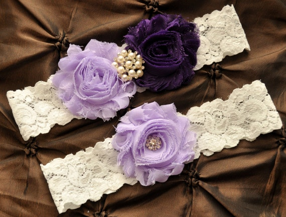 Wedding Garter, Bridal Garter Set - White Lace Garter, Keepsake Garter, Toss Garter, Shabby Chiffon Lavender Purple Wedding Garter Belt