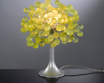 Table lamp with lemon green bubbles with metal wires, small table lamp, lemon lime bubbles lighter.