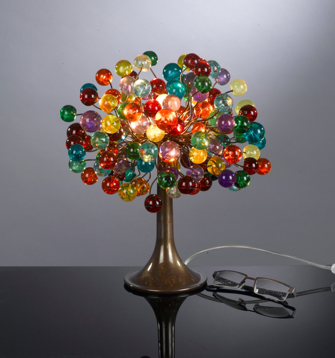 multicolored bubble table lamp with metal wires small decor. Black Bedroom Furniture Sets. Home Design Ideas