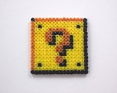 Super Mario question box Theme magnet or keychain, choose your style, mini beads.