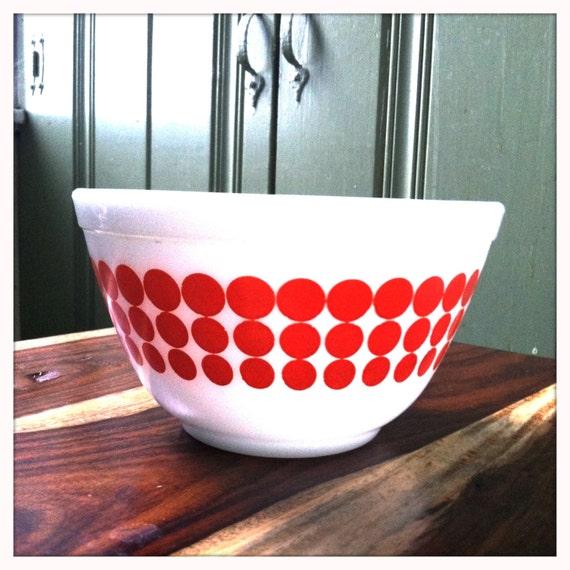 """Adorable Red Polka Dot """"New Dots"""" 1 1/2 pt mixing bowl"""