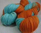 Hand Painted Yarn, Hand Dyed Merino Yarn 218 yards, Worsted Weight