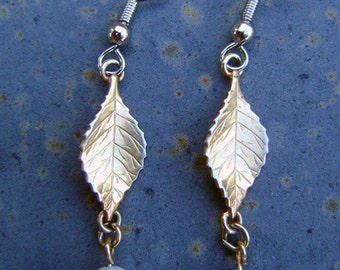 Gold Plated Leaf Earrings with Pearlized Beads