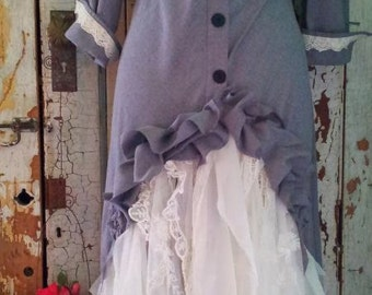 Gray and White Upcycled Clothing Western Wedding Dress Steampunk Wedding Dress Eco Clothing Small
