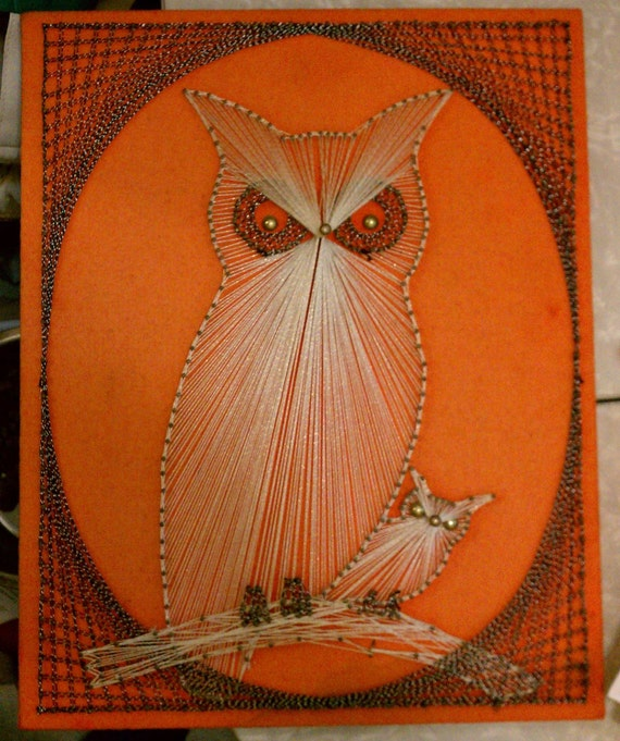 Noel Christmas Carolers Decoration Felt Clothes Big By: Vintage 1960s 1970s Retro Groovy Orange Momma & Baby OWL Owls