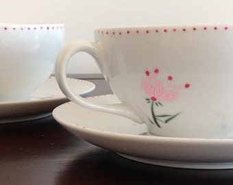 Cup and Saucer 2 Sets (4 Pieces) with Hand Painted Geometric Pink Flowers