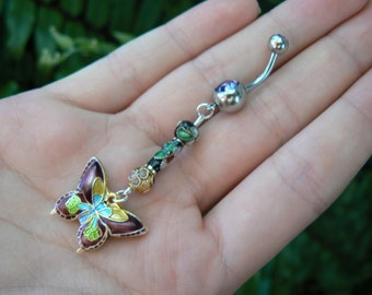 cloisonne butterfly belly ring PURPLE cloisonne beads in beach boho gypsy hippie belly dancer  fantasy beach hipster and fantasy style