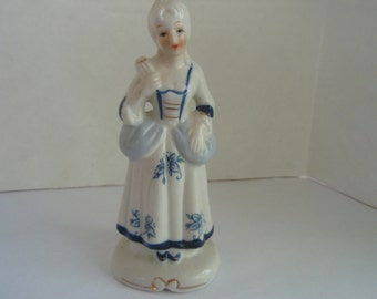 Blue and White Statue of Woman with Fan Vintage collectible Porcelain Figurine