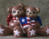 Hand-Painted Original Bisque Ceramic Patriot Bears w/Flag