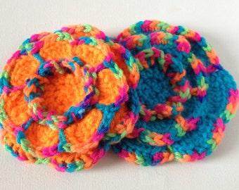 Crochet Flower Brooch, Rainbow with Blue or Orange, Large Yarn Flower Pin, Acrylic Wool Flower