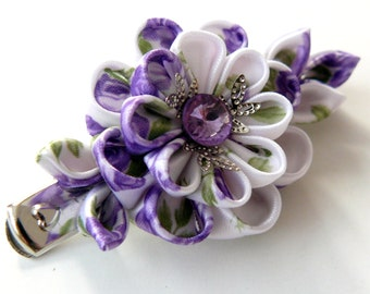 Kanzashi fabric flower hair clip. Violet and white.