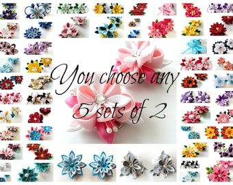 Kanzashi fabric flowers. You choose any 5 sets of 2.
