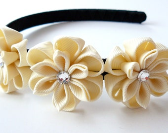 Ivory Kanzashi Fabric Flower headband.