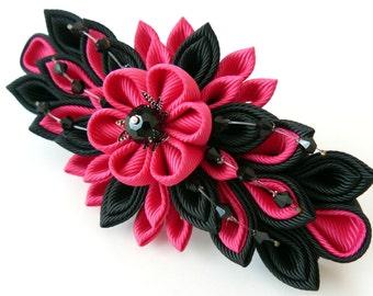 Kanzashi fabric flower french barrette.  Black and fushia.