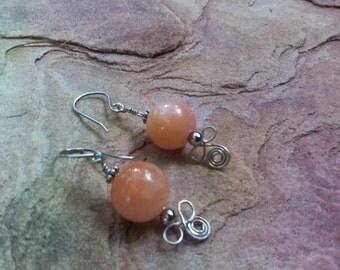 SALE....Peachy Jade on Sterling Silver Earrings