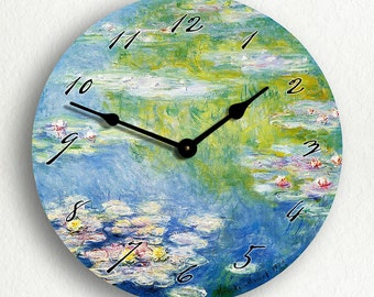 "Monet's 1908 Water Lilies 6""-10""-12"" Silent Wall Clock"