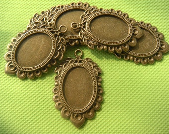 18 x 25mm  Antique Brass Pendant Settings, Filigree Oval Pendant Trays, Cabochon Settings,Oval Picture Frame, photo Jewelry supply 10pcs