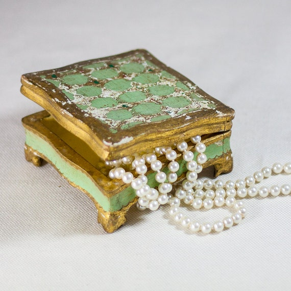 Italian Florentine Jewelry Box, Vintage Shabby Chic Trinket Box, Wooden Green and Gold Old Trinket, Gifts for Her by CozyTraditions