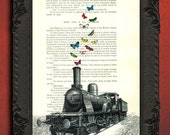Train decor, locomotive and butterflies, railroad wall art, train art, steam engine on dictionary print