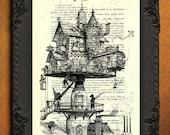 Aerial house - victorian house print - steampunk house dictionary art print, fantasy house illustration, vintage art print