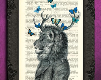 lion with antler dictionary art, lion print blue butterflies antique book page dictionary art, lion portrait dictionary page