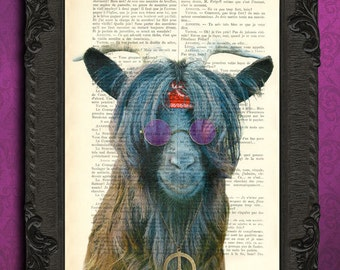 Goat print hipster farm animal art print goat art with hippie sunglasses