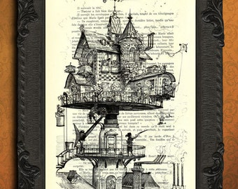 Aerial house - victorian house print - steampunk house dictionary art print, fantasy house illustration, vintage art print