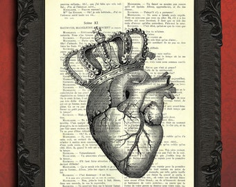 heart crown print king heart vintage dictionary art print