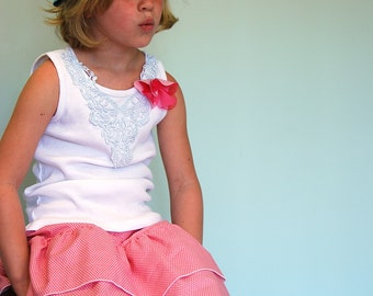 girls tiered skirt pink with polka dots - 4,5,6,7,8,9,10,11 girls tiered skirt with ruffles - girls pink polka dot skirt