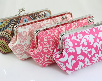 Pink Bridesmaid Clutches for Wedding Party Gift / Personalized Bridesmaid Gift / Wedding Clutches - Set of 6