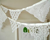 Eco Wedding Garland Decoration , Beach Wedding Garland, Banner , Photo booth Props,   Handmade With Handcrocheted Vintage Doilies and Laces