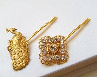 Peacock Hair Pins, Gold Bridal Hair Pins, Rhinestone Hair Pins, Gold Hairpins, Brides hair accessories, Wedding Jewelry - Peacock Topiary