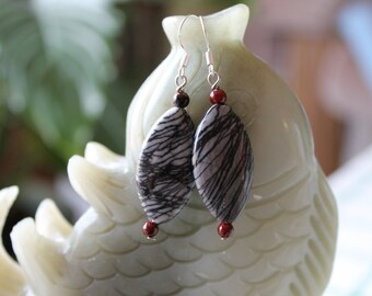 Web Jasper Earrings, sterling silver hook