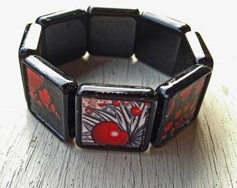 Unique fractal heart bangle bracelet