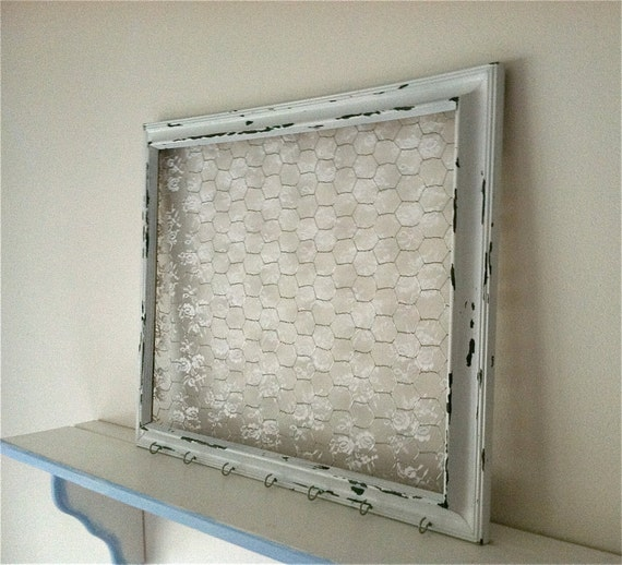 extra large shabby chic chicken wire frame with lace hair bow holder hair clip